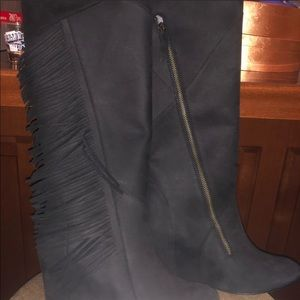 Brand new fringe tall over the knee wedge boots